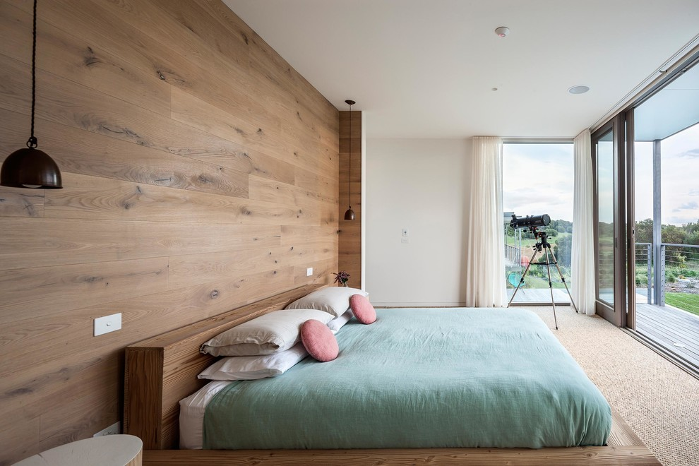 Unique bedroom feature wall scandinavian with platform bed on urban angles