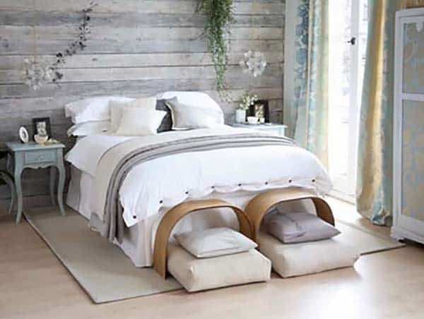 White Seaside Bedroom Suite with Wooden Walls
