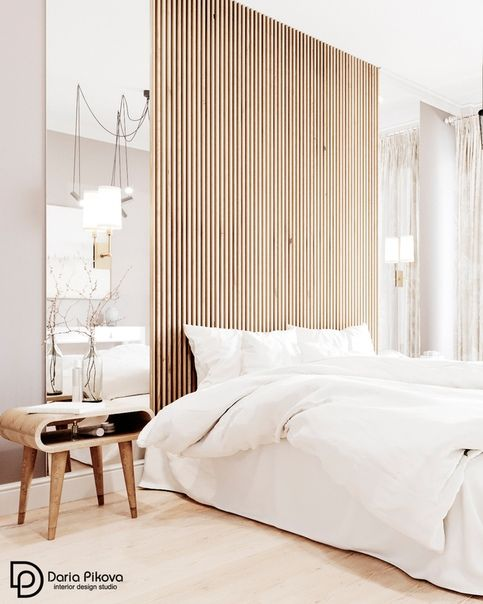Wood Strip Feature Wall Bright Bedroom