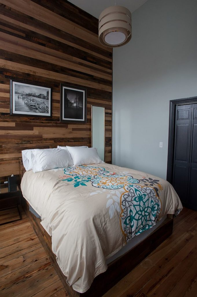 For tall bedroom, use horizontal wood accent wall to add character and punctuate the heigh of the bedroom.