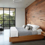 Wooden Bedroom Feature Wall with Floating Side Tables
