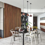 Dining Room with Wooden Feature Wall Strips