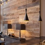 Living Room Feature Wall with Co-ordinated Lighting, Table Lamps and Table