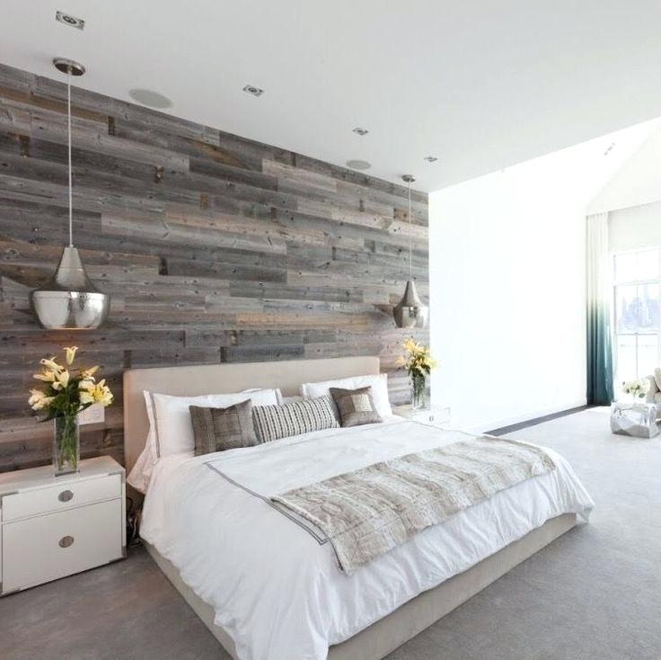 Reclaimed wood feature wall master bedroom design with wallpaper